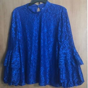 Laundry by Shelli Segal Bell Sleeve Lace Blouse XL